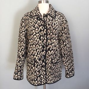Maggy London Cheetah Print Silk Quilted Jacket